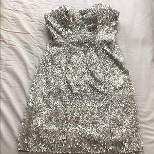 Alberto Makali Silver Sequin Dress
